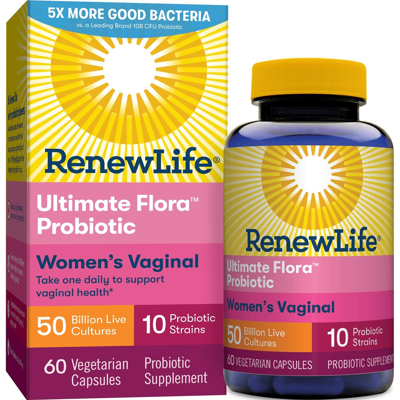 Renew Life Women's Probiotic - Ultimate Flora  Women's Vaginal Probiotic Supplement - Gluten, Dairy & Soy Free - 50 Billion CFU - 60 Vegetarian Capsules by Renew Life