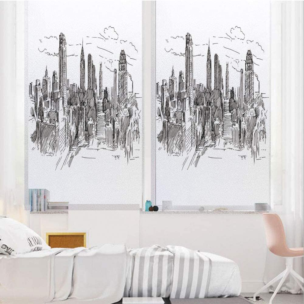 """New York 3D No Glue Static Decorative Privacy Window Films, Hand Drawn NYC Cityscape Tourism Travel Industrial Center Town Modern City Design,24""""x36"""",for Home & Office Decor,Grey White"""