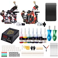 Go1nTattoo Complete Tattoo Machine Kit for Beginners with Tattoo Machine Tattoo Needles Tattoo Power Supply Foot Pedal…
