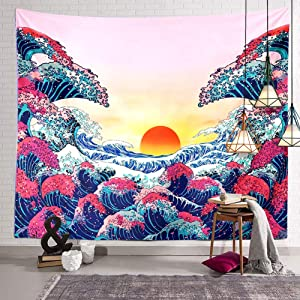 BERRY Japan Ocean Wave Tapestry Sunset Wall Hanging Decor Pug Japan Tapestry Hippie Trippy Large Tapestry for Bedroom Living Room Dorm(80x60 Inch)