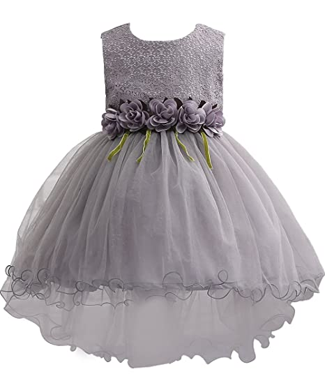 Amazon plwedding lovely kids tutu dress lace flower girl plwedding lovely first communion dress lace flower girl dress with sash gray size 4 5 mightylinksfo