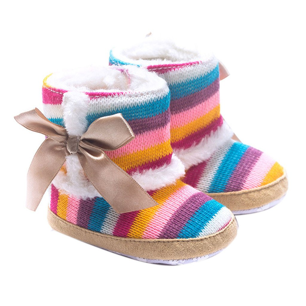 Jiuhong Baby Girl Rainbow Stripe Coral Fleece Snow Boots Shoes with Bowknot JHBBXIE-0004