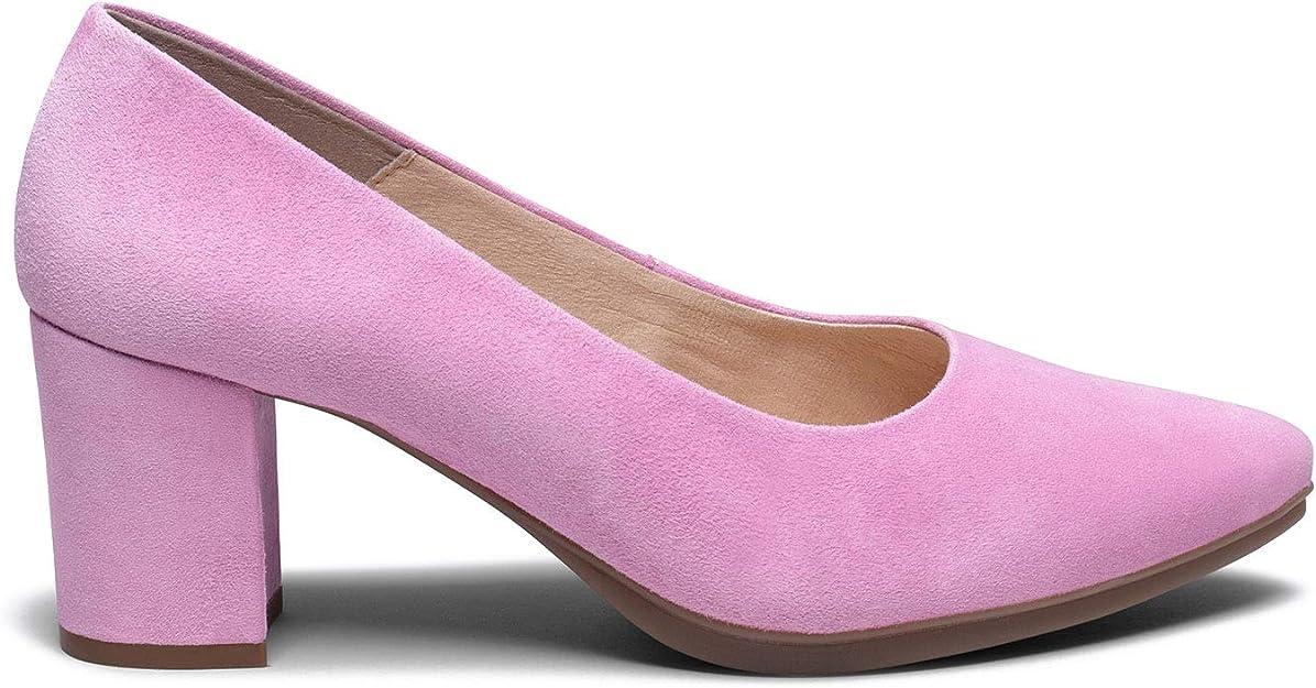 MiMaO - Zapatos de tacón de ante - Cómoda - Zapatos clásicos y elegantes, cómodos, para primavera, verano, Rosa (rosa), 38 EU: Amazon.es: Zapatos y complementos