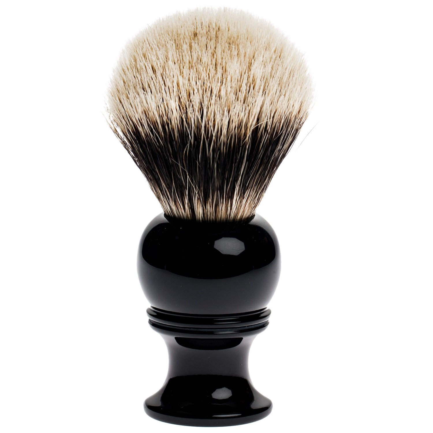 Fendrihan 2-Band Silvertip Badger Shaving Brush with Black Resin Handle for Personal and Professional Shaving