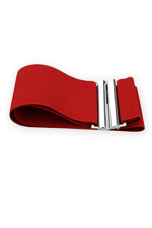BlackButterfly 3 Inch Elastic Vertical Buckle Waist Belt Red, US 14-16