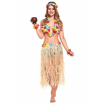 JZK® 5 in 1 costume hawaïen de fantaisie jupe de hula bracelet de tête de fleur bracelet lei garland pour filles femmes Hawaiian Luau party Fourniture de fête de Hawaii accessoire de fête