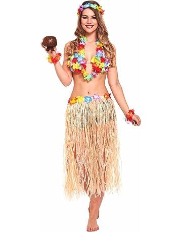 234449ad25b9 JZK 5 in 1 Hawaiian party fancy dress costume set hula skirt flower  headband bracelet lei