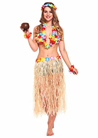 df421f8314 JZK 5 in 1 Hawaiian party fancy dress costume set hula skirt flower  headband bracelet lei
