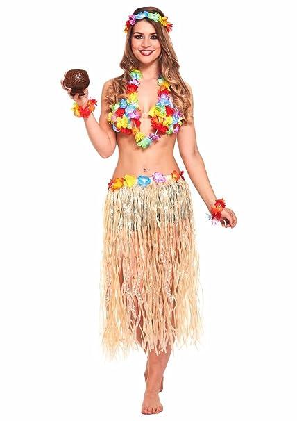 JZK 5 in 1 Traje Fiesta Hawaiana Disfraces Falda Hula Diadema de Flores Pulsera Lei Guirnalda Collar para niñas Mujer Fiesta Hawaiana Luau Accesorio ...