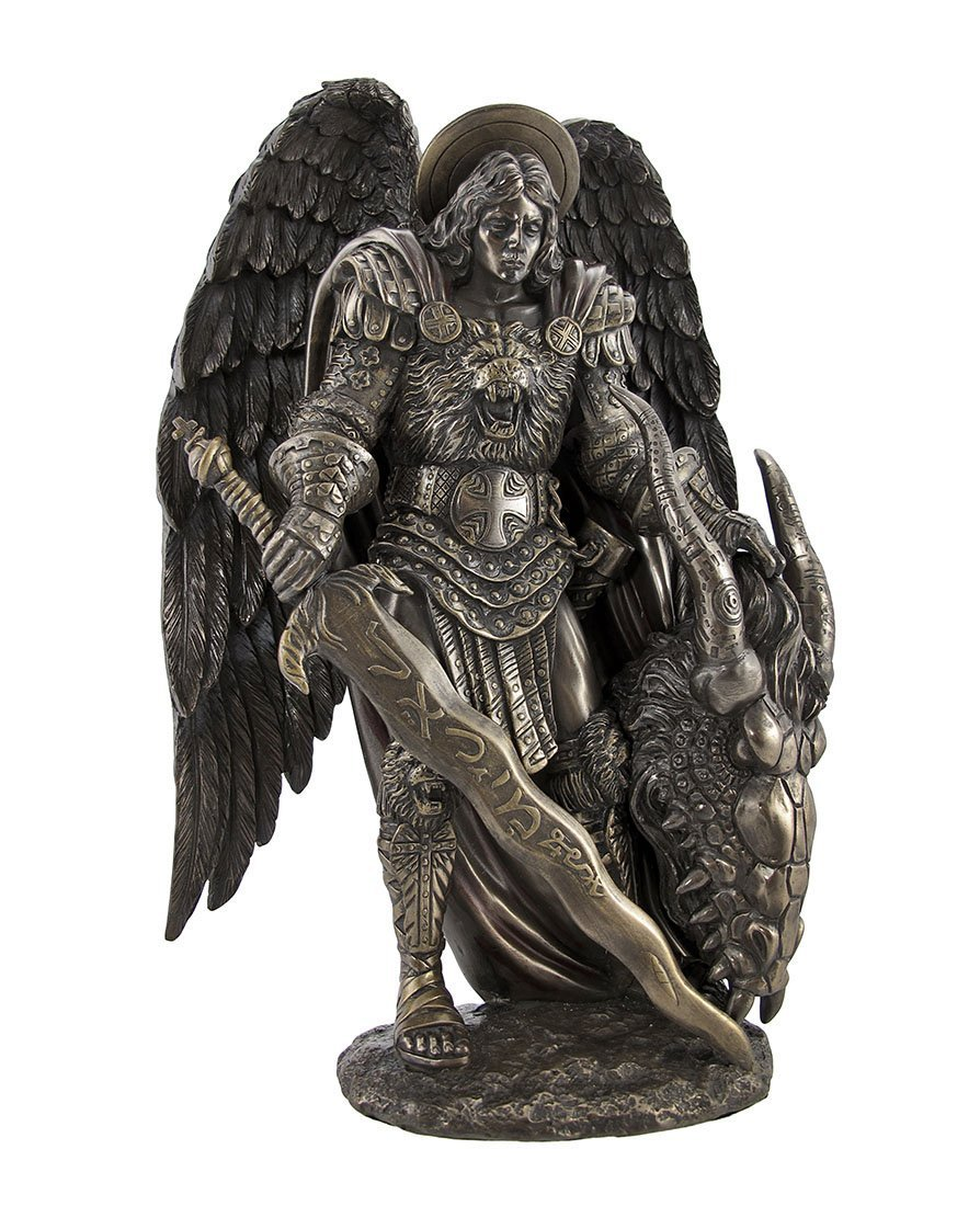 Pacific Giftware Saint Michael Slaying The Evil Dragon Mighty Warrior and Protector San Miguel Statue 10 inch