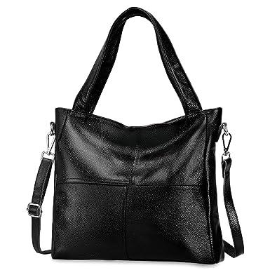 2a0d950f75ef S-ZONE Women s Genuine Leather Tote Handbag Shoulder Bag Crossbody Ladies  Purse(Black)