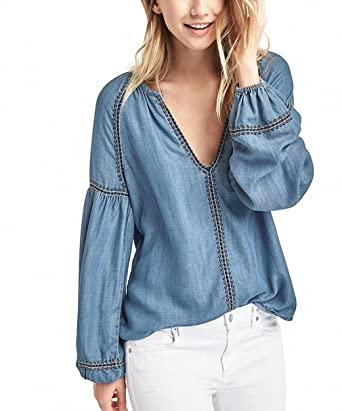 NEW women deep v collar denim shirt fashion lady office work loose embroidery denim blusas W001586