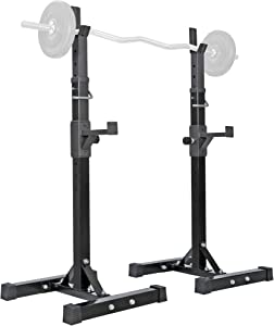 "ANT MARCH Pair of Adjustable Height 40""-66"" Portable Dumbbell Racks Sturdy Steel Squat Rack Barbell Free Bench Press Stands Home Gym Load 550Lbs Dipping Station"