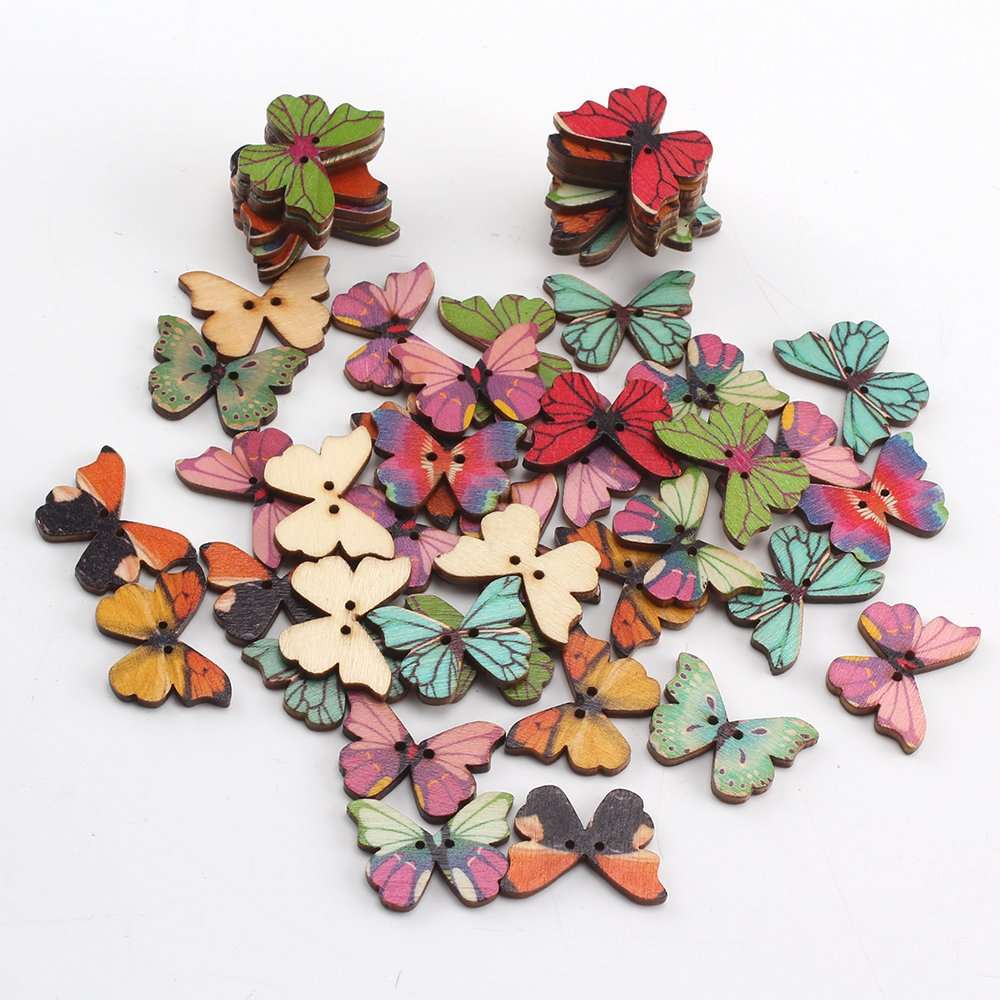 Xpork 50Pcs 2 Holes Wooden Buttons Butterfly Insect Mixed Bulk Colorful For DIY Sewing Scrapbooking Craft oem