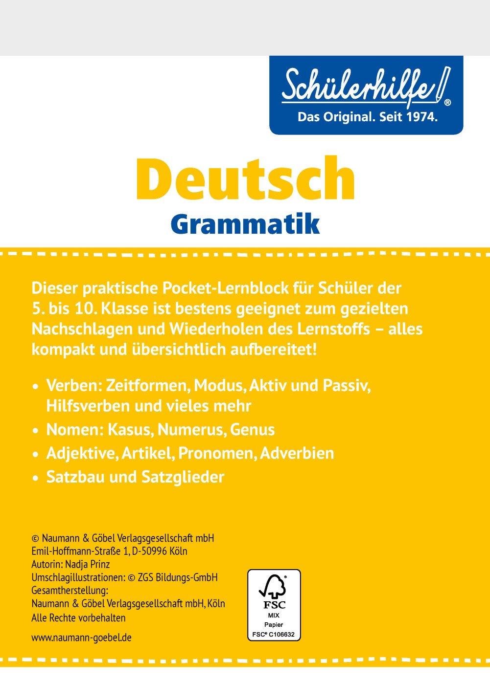Pocketblock Deutsch Grammatik Gute Noten Mit Der Schülerhilfe