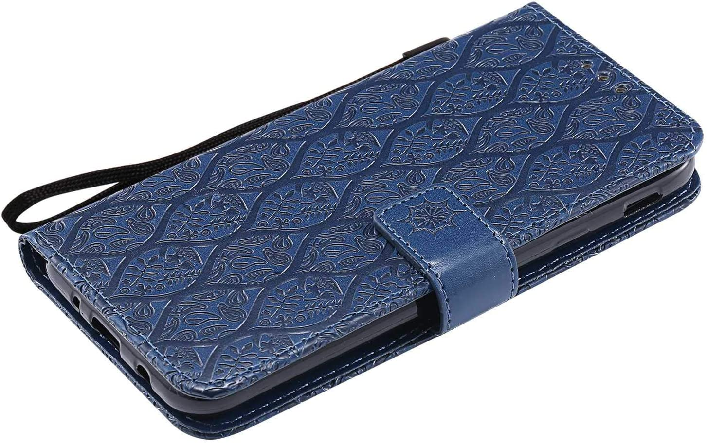 The Grafu/® Flip Wallet Cover Leather Case for Samsung Galaxy J7 2017 Magnetic Closure Card Holders Stand Feature Navy Blue Notebook Cover Full Body Protective Case
