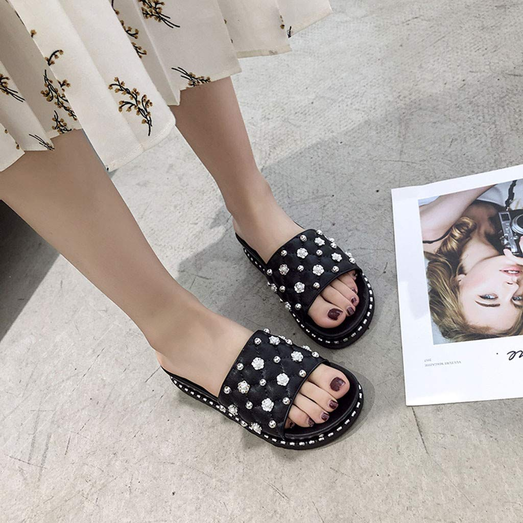 Women Ladies String Bead Floral Casual Beach Shoes Sandals Slippers Black