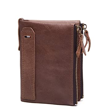 4db765b0c97300 Ruiatoo Herren Geldbörse Vintage Leder Portemonnaie Geldbeutel Portmonee  aus Echtleder Hellbraun