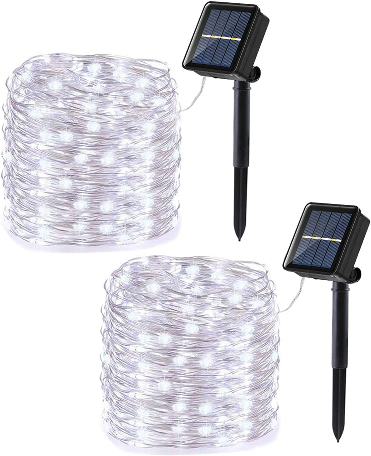 Joomer Upgraded Solar String Lights, 2 Pack 39ft 120LED 8 Modes Silver Wire Outdoor String Lights, Waterproof Solar Rope Lights for Patio, Garden, Yard, Party, Wedding Decoration (White)