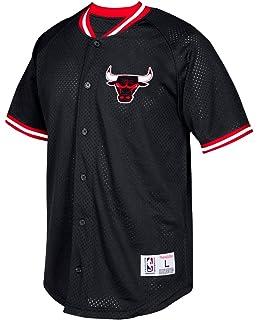 real chicago bulls mitchell ness nba seasoned pro mens button up jersey  shirt 416a2 e9fbb 690862d30