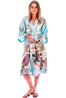 Kimono Robe Silk Several Colors Geisha And Peacock Designs