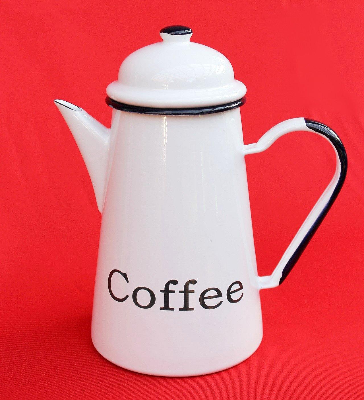 DanDiBo Emaille Kaffeekanne 22cm 1, 0 L emailliert 578TB Coffee Weiß Wasserkanne Kanne Teekanne