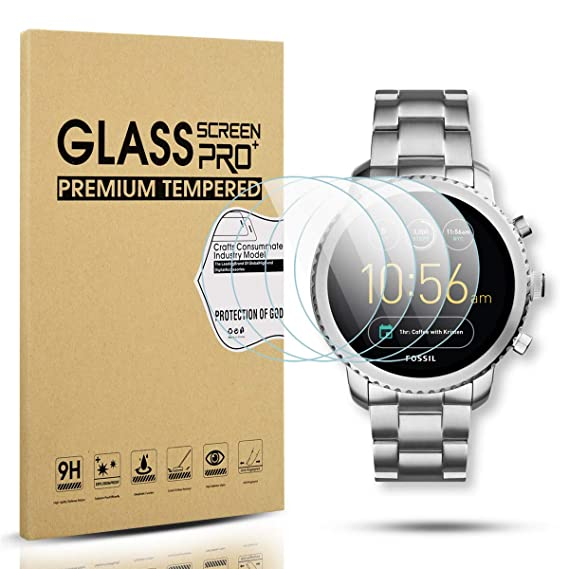Diruite 4-Pack for Fossil Q Explorist Gen 3 Smart Watch Tempered Glass Screen Protector [Anti-Scratch] [Perfectly Fit] [Optimized Version]