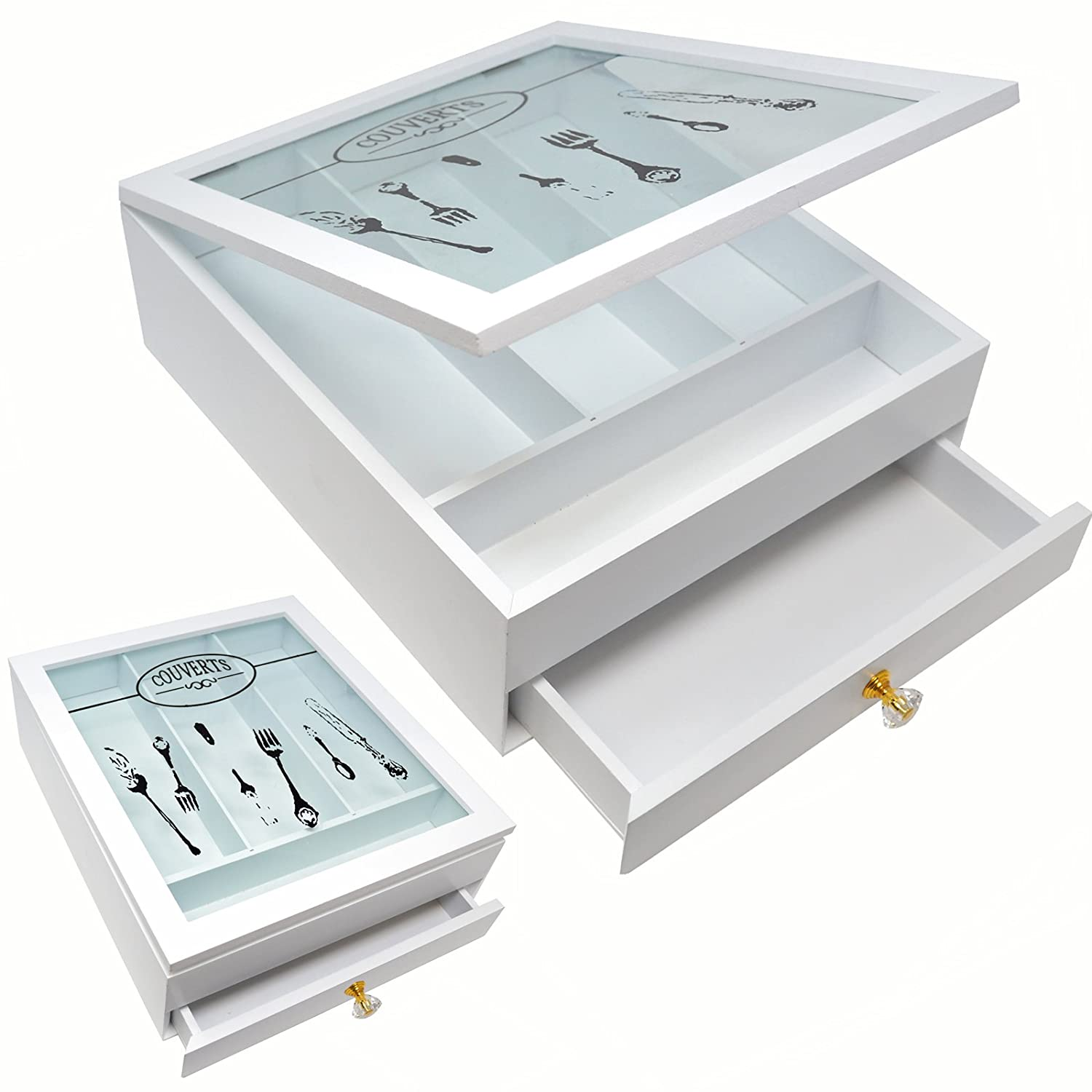 CUTLERY HOLDER TRAY ORGANISER BOX GLASS 4 COMPARTMENTS + DRAWER KITCHEN STORAGE PRIMA