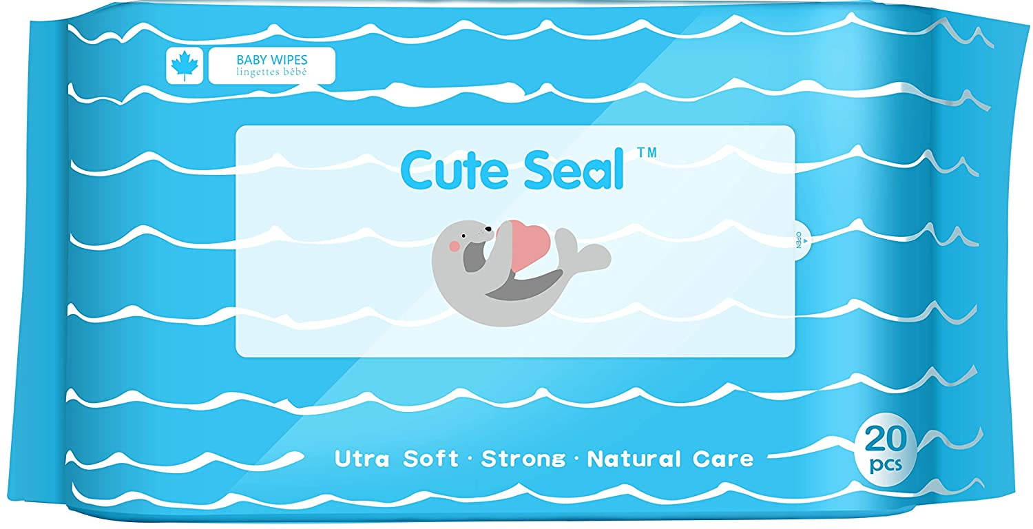 Cute Seal Water-Based Wet Baby Wipes Tissue Small 20 Pieces 9X Packs, 20 Count