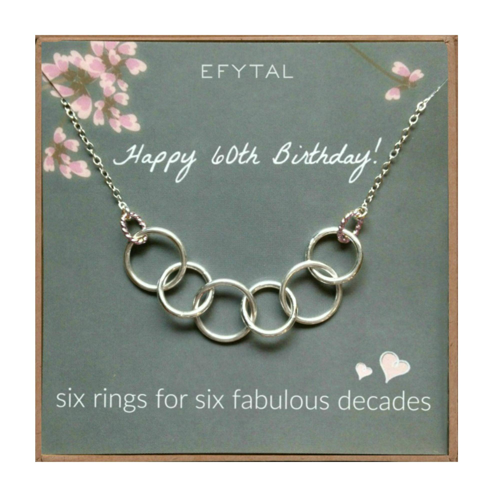 EFYTAL Happy 60th Birthday Gifts for Women Necklace, Sterling Silver 6 Rings six Decades Necklaces Gift Ideas by EFYTAL