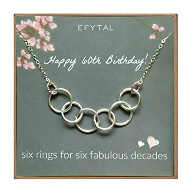 Amazon EFYTAL Happy 60th Birthday Gifts For Women Necklace Sterling Silver 6 Rings Six Decades Necklaces Gift Ideas Jewelry