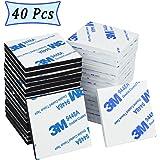 Doppelseitige Klebepads – 40 Stück weiße doppelklebende Schaumstoff-Pads, starkes Montageklebeband, quadratisch (4 x 4 cm)