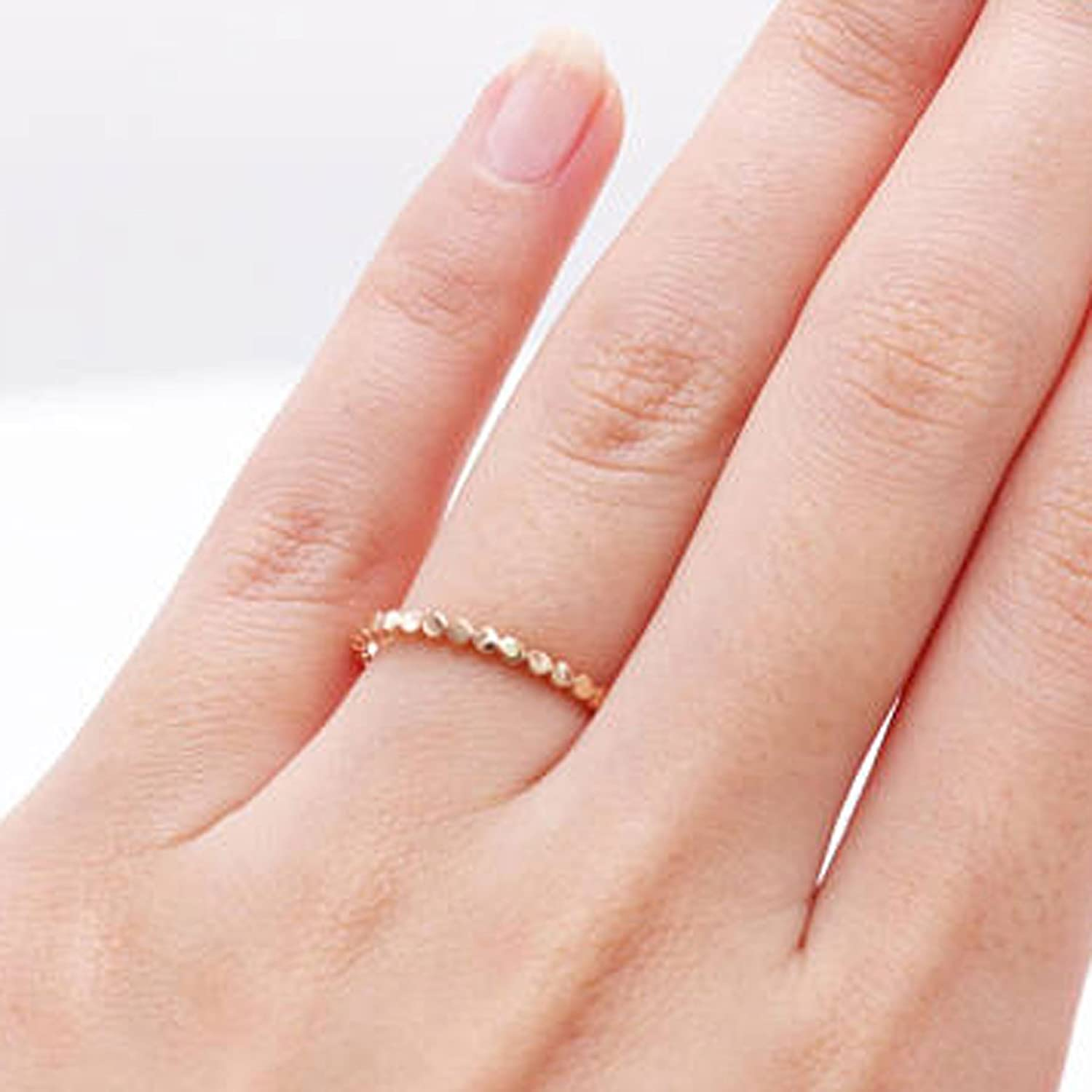 Amazon.com: 14K Rose Gold Flat Bead Ring /Dotted Band/Perfect ...