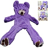 Livingly Light 78 Inches 6.5Ft Giant Semi-finished Unstuffed Teddy Bear Plush Soft Toy Purple Valentine's Day Birthday Gift ,Only Cover, No Cotton, Shell with Zipper 200cm
