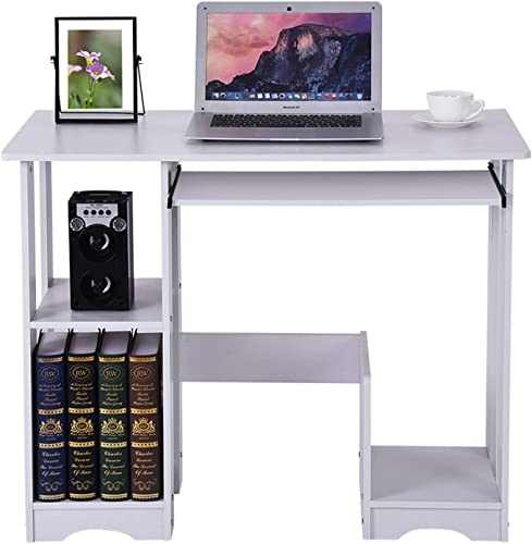 US Spot Desktop Home Computer Desk Modern Minimalist Desk Creative Gaming PC Laptop Desk Work Table,Home Bedroom Furniture-Workstation-Students Study Writing Desk Wood Table 35.4 18.9 28.3in WH