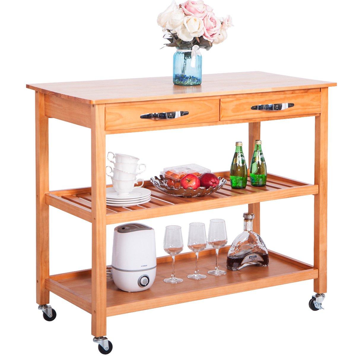 LZ LEISURE ZONE Kitchen Island Cart with Wheels, Drawers Shelves Storage Shelf Walnut