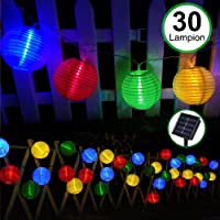 Guirlande Lumineuse Lampe Solaire Exterieur Jardin, Bawoo 30 LED 5.5M Lampe Lampion Décoration Noël Guirlande Guinguette Lanternes Solaire Etanche IP65 - Multicolore