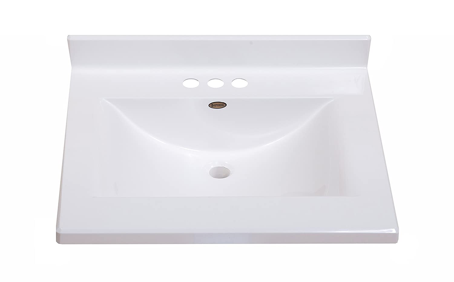 Imperial FW2522SPW Center Wave Bowl Bathroom Vanity Top, Solid White Gloss  Finish, 25 Inch Wide By 22 Inch Deep   Vanity Sinks   Amazon.com