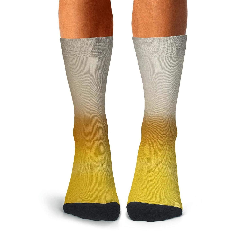 KCOSSH Beer Pattern Mens Crew Socks Novelty Over The Calf Socks For Men Moisture Wicking Compression Stockings Men