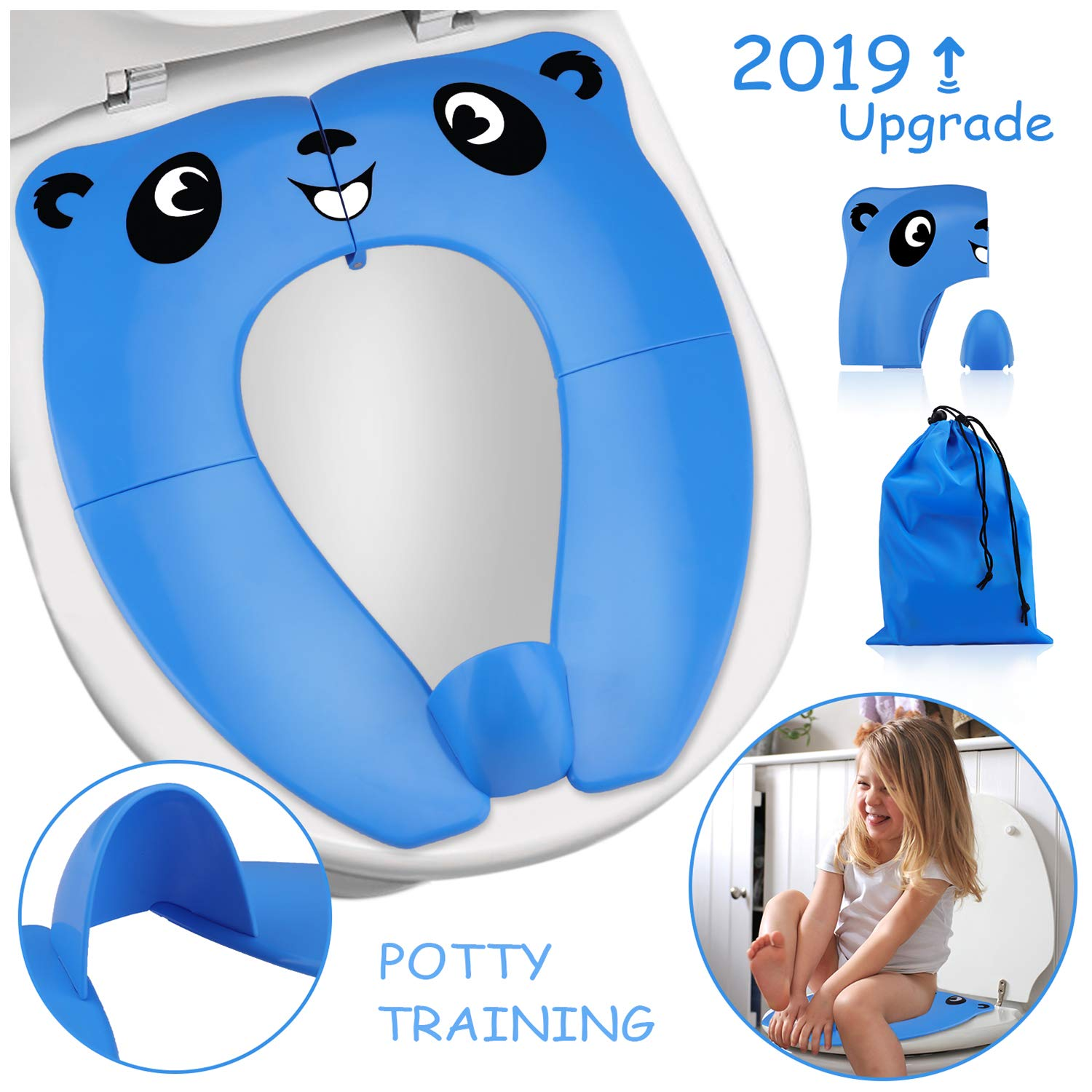 2019 Upgrade Portable Potty Seat with Splash Guard for Toddler, VIRIITA Foldable Travel Potty Seat with Carry Bag, Non-Slip Pads Toilet Potty Training Seat Covers for Baby, Toddlers and Kids (Blue)