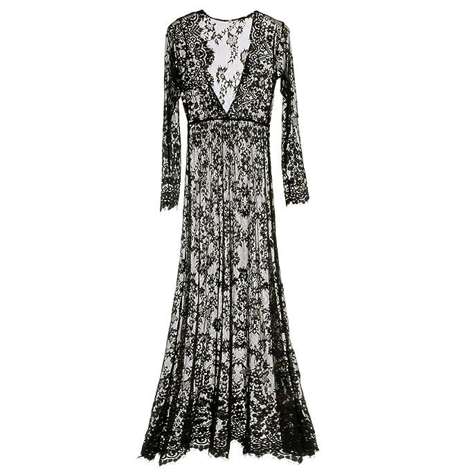 Amazoncom Fedi Apparel White Lace Summer Sundress V Neck Long