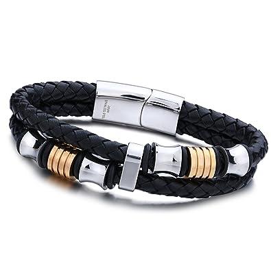 4e6c056240af Jstyle joyería de la pulsera del acero inoxidable de cuero del hombre y  pulseras de cuerda trenzada de cuero Negro con el gancho  Amazon.es  Joyería