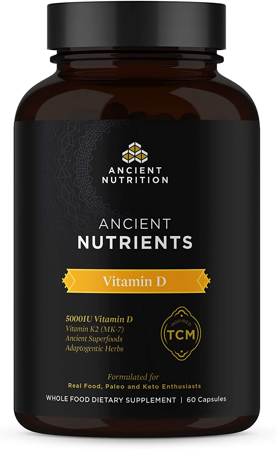 Ancient Nutrition, Ancient Nutrients Vitamin D - 5,000 IU Vitamin D, Adaptogenic Herbs, Enzyme Activated, Paleo & Keto Friendly, 60 Capsules
