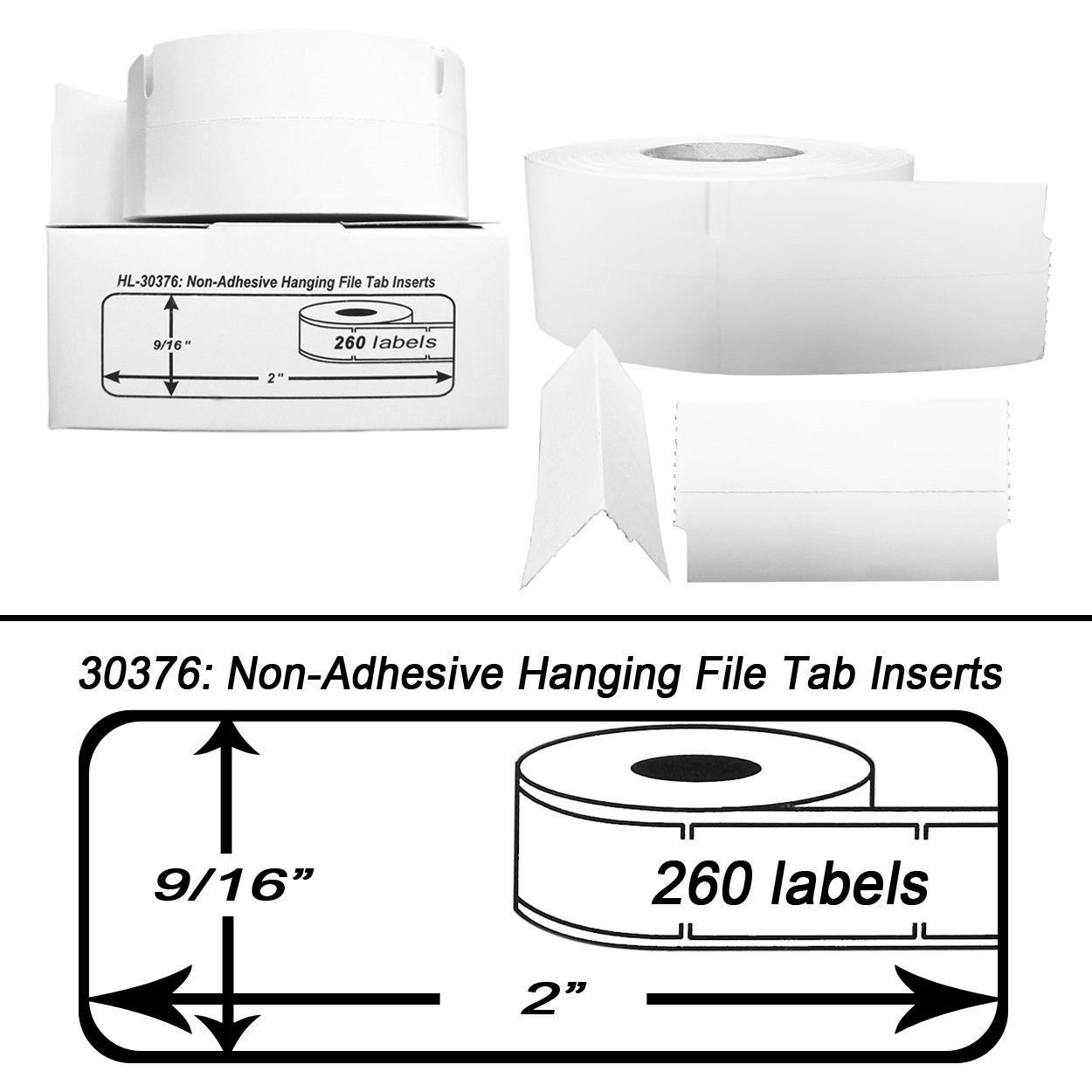 BPA Free! - 6 Rolls; 260 Inserts per Roll of DYMO-Compatible 30376 Hanging File Tab Inserts 9//16 x 2