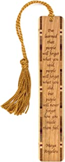 product image for Personalized Feelings Quote by Maya Angelou, Engraved Wooden Bookmark with Tassel - Search B072MSCKCP for Non-Personalized Version