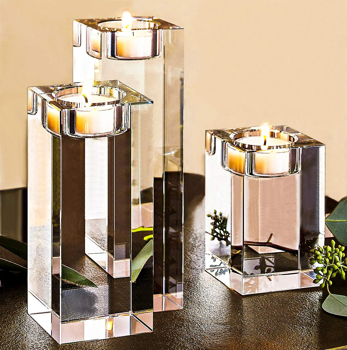 Amazing Home Large Crystal Candle Holders Set of 3, 3.1/4.6/6.2 inches Height, Delicate Giftbox, Elegant Solid Square Tealight Holders, Centerpieces for Wedding, Home Decor, Ceremony and Anniversary