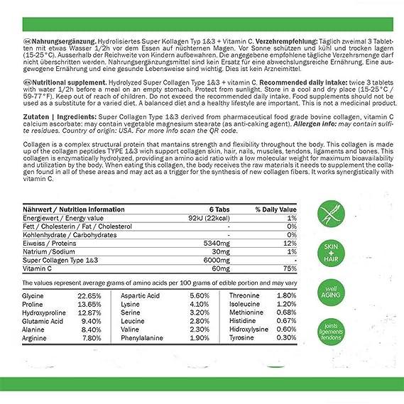 Colágeno Hidrolizado Super Tipo 1 y 3, 6000mg, Colágeno en pastillas, 250: Amazon.es: Salud y cuidado personal