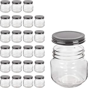 Mason Jars,QAPPDA Glass Jars With Lids 8 oz,Canning Jars For Pickles And Kitchen Storage,Wide Mouth Spice Jars With Black Lids For Honey,Caviar,Herb,Jelly,Jams,Set of 30…