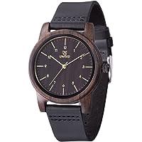 MUJUZE Herren Analoge Japanisch Quarzwerk Uhren 40mm Sandelholz Ziffernblatt Rund Holzuhr mit Leder Armband