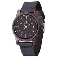 Wood Watch,BIOSTON Natural Handmade 40mm Unisex Design Cowhide Leather Wooden Wrist Watches with Brown Strap